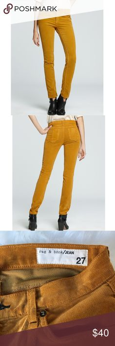 Brand new rag & bone pants Brand new rag & bone, mustard yellow, corduroy, skinny fit pants in size 27. rag & bone Pants Skinny