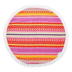 Sunnylife Balandra Round Beach Towel ($98) ❤ liked on Polyvore featuring home, bed & bath, bath, beach towels, multi, round beach towel, rainbow beach towel, striped beach towels, cotton beach towels and circular beach towel