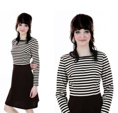 Striped MOD Dress 60s 70s Brown White Aline by neonthreadsdesigns, $37.00