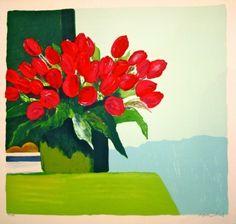 Lithograph - Roger Muhl - Bouquet de tulipes rouges
