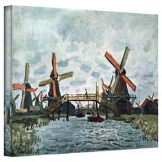 Wrapped canvas reproduction of Claude Monet's Windmills.  Product: Wall artConstruction Material: Canvas and woodFeatures:  Made in the USAGallery wrappedReproduction of original art by Claude Monet