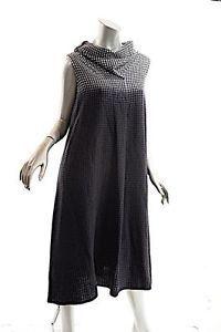 CREA CONCEPT BlacK/White/Gray Wool Blend Checker/Ombre Cowl Dress - 38/US6 - NWT