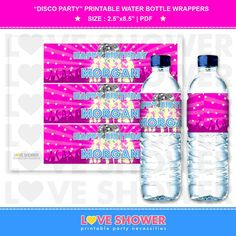 Disco Party  Water Bottle Wrappers  Drink Wrappers  by LoveShower, $6.00