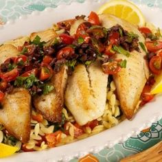Tilapia With Olive Salsa and Spinach Orzo - Recipes - Best Recipes Ever - The chunky Kalamata olive salsa adds a welcome touch of freshness to this tilapia dish. Orzo Recipes, Tilapia Recipes, Fish Recipes, Seafood Recipes, Meatless Recipes, Dinner Recipes, Tilapia Dishes, Fish Dishes, Kitchens