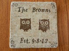 Owl Wedding Date and Name Tile Trivet - - Perfect for New Home, Newly Married, Housewarming Gift or Hot Pot or Bottle of Wine Owl Wedding, Wedding Gifts, Wedding Ideas, Wedding Things, Wedding Stuff, Whimsical Owl, Tile Crafts, Newly Married, Hot Pot