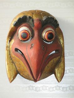 ANTIQUE VINTAGE CHINESE TIBET NEPAL WOOD CARVING MASK SCULPTURE PAINTING BIRD