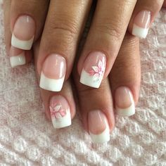 Bellas!! Hot Nails, Hair And Nails, Cruise Nails, Cherry Blossom Nails, Pink Manicure, French Nail Art, Luxury Nails, Neutral Nails, Silver Nails
