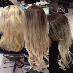 Balayage root stretch tape extensions blonde hair