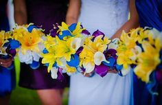 Real Touch Royal blue, purple, ivory white calla lilies, white roses, asiatic yellow lilies, Custom Bouquet.$50 by SilkFlowersByJean
