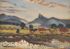 Martin Benka - Na Váhu, 1933 Painters, Illustrators, Graphic Art, Illustration Art, Tapestry, Artist, Pictures, Beauty, Hanging Tapestry