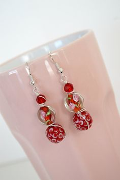 Wire Wrapped Red and Pink Lampwork Glass Earrings by DebbieRenee, $16.00