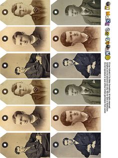 great idea for old family photos. get scanning with Pic Scanner app for iPhone and iPad Vintage Tags, Vintage Labels, Vintage Men, Altered Books, Altered Art, Heritage Scrapbooking, Scrapbooking Ideas, Old Family Photos, Paper Tags