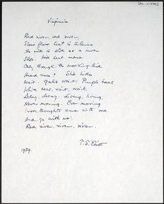 el blog de almu: El manuscrito de 'Virginia', de T.S.Eliot. 1959.
