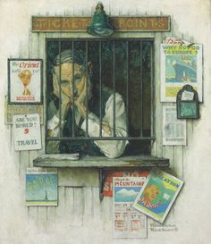 Norman Rockwell (1894-1978) Ticket Seller signed 'Norman/Rockwell' (lower right) oil on canvas 28 1/4 x 24 in. (71.8 x 61 cm.) Painted in 1937.