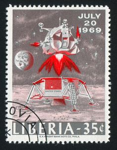 Liberia stamp shows Takeoff from Moon, circa 1969