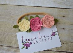 READY TO SHIP Pink and Cream Felt Flower by LauraLeeDesigns108