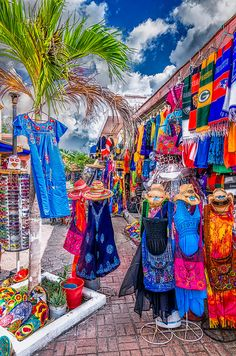 Shopping in Cozumel. I love the colors. Numerous handcrafted items. Best deals on silver, pottery, and real Vanilla.