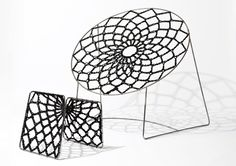 "The NOOK Chair by Henry Sgourakis. ""The chair and ottoman combination created with similar crocheted rope work, creates a doily like bungie net to catch your tired body. As you lay back the material expands and you fit comfortably inside. Room Furniture Design, Funky Furniture, Unique Furniture, Chair Design, Furniture Chairs, Contemporary Chairs, Modern Chairs, Contemporary Design, Modern Art"