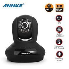 ANNKE SP1 HD 720p Wireless Wi-Fi Camera with 2-Way Audio and Remote Pan/Tilt (Black)