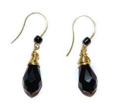 Grecian Inspired Stylish, Black Onyx Briolette Earrings