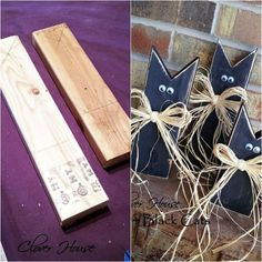 Turn scrap plywood into these adorable frightened cats for Halloween. Get the instructions + 7 more spooky Halloween decorations from reclaimed wood >> http://blog.diynetwork.com/maderemade/2015/09/25/7-spooky-halloween-decorations-from-reclaimed-wood/?soc=pinterest