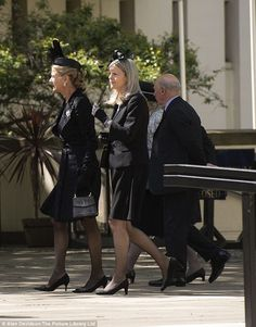 The Duchess of Wellington and her daughter Lady Jane Wellesley arrive at the service