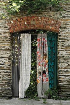 Pixelated Flora Curtain - anthropologie.com