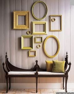 5 Unusual Ways to Use Picture Frames Leftover paint + thrift store frames = unified wall decor<br> Frames aren't just for displaying photos. Check out this 5 unusual ways to use picture frames without the pictures! Empty Picture Frames, Frames On Wall, Painted Frames, Gold Frames, Framed Wall, White Frames, Art Frames, Frames Ideas, Hanging Frames