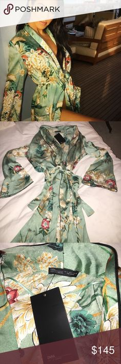 ZARA KARDASHIAN CELEB STAR GREEN FLORAL KIMONO.,, ABSOLUTELY BEAUTIFUL!! 💗💗💗THIS ONE WAS MINE,, 🤷‍♀️, AND , I HAD MANY VERY INTERESTED IN THE ONE I SOLD,,, !; So , I priced,,, and I AM ACCEPTING OFFERS. Not BEING GREEDY,,, just ALLOWING EVERYONE TO HAVE A SHOT!! GOOD LUCK!! It gives everyone a fair chance to purchase and to make An offer!! Thank you 🙏🏻💕💕💕💕💕💕💕STUNNING!!!! TRENDING!! ZARA Intimates & Sleepwear