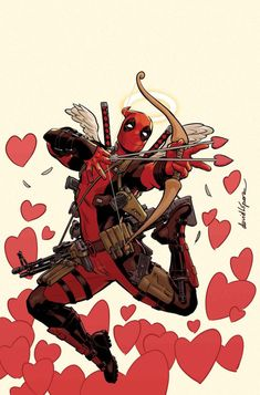 #deadpool #love >> i can just imagine Peter in the distance like 'WADE YOU IDIOT THOSE ARE REAL ARROWS' then tripping over himself to make sure deadpool doesnt kill anyone.