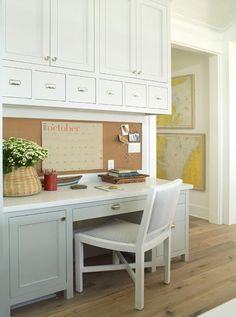 this builtin desk area has plenty of space to keep your files and office supplies organized would you add a builtin like this one to your orlando home
