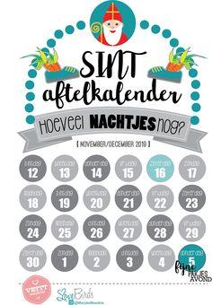 Gratis Sinterklaas aftelkalender 2019. In roze en blauw te downloaden Words, School, Horse