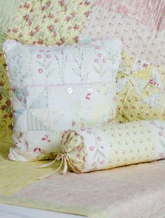 Hand Embroidery Pattern - French Cottage Garden Pillows - Crabapple Hill Studio
