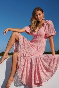 This Boston Proper Lace Maxi Dress elevates casual-luxe style and ultra femininity in an exquisite lace fabrication. It is the perfect dress for so many occasions . . . Wedding Guest Dress, Vacation Outfit, Resort Outfit, Cruise Outfit, Brunch Outfit, Graduation Dress, Date Night Outfit . . . such a great summer outfit idea for heading out of town! Available in pink and white. | Pink Maxi Dress | Boston Proper Dresses | Boston Proper Clothing | #BostonProper Classy Wedding Guest Dresses, Wedding Rehearsal Dress, Travel Clothes Women, Clothes For Women, Casual Dresses, Dresses For Work, Resort Dresses, Brunch Outfit, Date Night Dresses