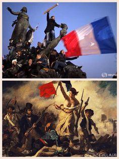 """""""Le Triomphe de la République."""" C'est le nom de la statue qui domine la place de la Nation, à Paris. C'est aussi le titre qu'on est tenté de donner, par métonymie, à cette photo prise à la fin de la Marche républicaine du 11 janvier par Martin Argyroglo, jeune photographe indépendant dont l'image fait le tour du monde... et la couverture de """"l'Obs"""", en kiosque ce mercredi."""