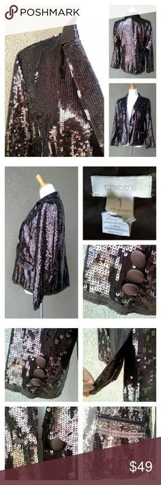 """CHICO'S Sequin and Satin Tuxedo Style Blazer Chocolate. Beautiful, like-new condition. Fully lined. Satin trimmed, with covered buttons. Two outer pockets that have yet to be opened (still sewn shut). Approximate measurements laid flat: U-U 19"""" across, S-S 15"""" acr, length 25"""", waist 18.5"""" acr, sleeve 23.5"""" from shoulder seam/28.75"""" from neck collar seam. Size 1 Chico's = approx S/M. No stains, loose seams, missing sequins. Chico's Jackets & Coats Blazers"""