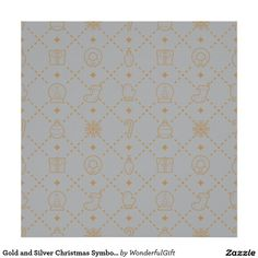 Gold and Silver Christmas Symbols Seamless Pattern Poster