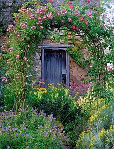 And why not? Lush and colorful perennials can be used in a front yard...you don't always have to use evergreen shrubs. And an arbor can add lots of charm.