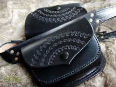 dOuble LeAthEr BeLt bAg  hand tooled sewn and by LivitVivid, €210.00