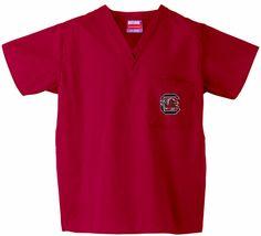 University of South Carolina Scrub Top in Crimson