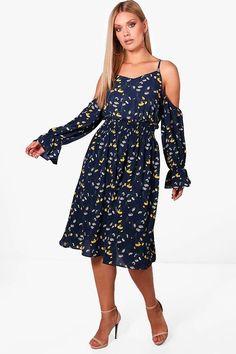 be99248e63d Plus Emma Floral Open Shoulder Midi Dress Boohoo
