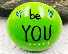 Be You, Be Yourself, Encouragement Rock, Affirmation Stone, Hand Painted Rock — Alleluia Rocks Rock Painting Patterns, Rock Painting Ideas Easy, Rock Painting Designs, Painting For Kids, Bubble Painting, Painted Rocks Craft, Hand Painted Rocks, Painted Stones, Painted Rock Cactus