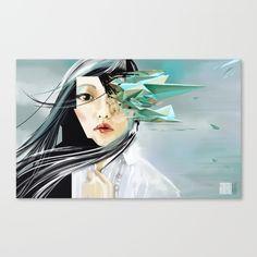 -painting of a beautiful girl taken over by rogue code. #glitch, #woman #girl #cyberpunk #sci-fi #cyber #distortion #polygon #rogue #code #neuromancer #Gibson #Japanese #green #mint #red #art #painting #idoru #evening #tee #shirt #mug #laptop
