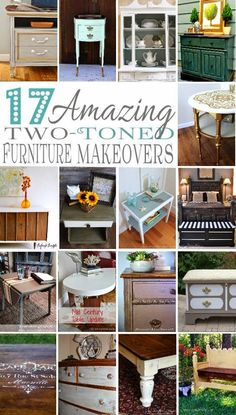 17 Painted Furniture Ideas Collection - Two tone makeover inspiration at @arttisbeauty
