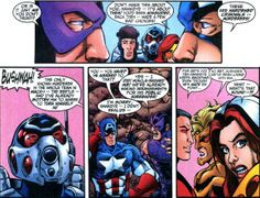 """Some late '90s """"discussion"""" between Cap and Hawkeye over the fate of the Thunderbolts, a group mostly made up of variously reformed super criminals.  From AVENGERS (Vol. 3?) #12, by Kurt Busiek & George Pérez with Al Vey, Bob Wiacek & Tom Smith.  (© Marvel Comics/Entertainment)"""