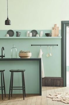 modern kitchen with mixed green paint and decor. / sfgirlbybay