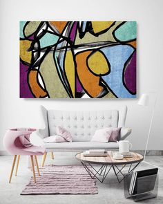 Vibrant Colorful Abstract-0-59. Mid-Century Modern Blue Brown Canvas Art Print, Mid Century Modern Canvas Art Print up to 72 by Irena Orlov Wall Art Decor for Home, Office or Hotel MIDCENTURY ABSTRACT ART With retro colors and free formed geometric shapes, all of this pieces in my