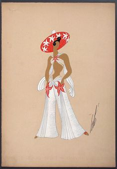 with Starfish Erté (Romain de Tirtoff). France, circa 1947. Gouache on paper. | LACMA Collections