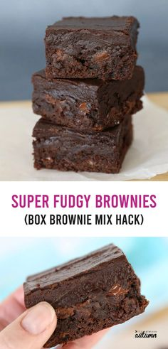 Brownie Mix Desserts, Boxed Brownie Recipes, Fudgy Brownie Recipe, Cake Mix Recipes, Brownie Cake, Mini Desserts, Just Desserts, Delicious Desserts, Dessert Recipes
