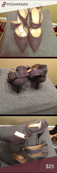 Suede Look Heels Cross Cross Heels with Buckle In Back NY&C Shoes Heels